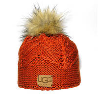 Брендовая женская вязаная шапка с бубоном Ugg оранжевая качественная новинка 2018 года шерсть зима Уг реплика