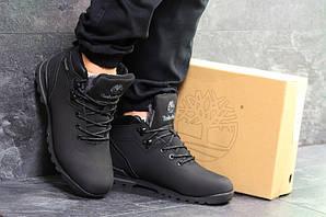 Ботинки тимберленд мужские зимние черные кожаные нубук с мехом (реплика) Timberland Black Winter