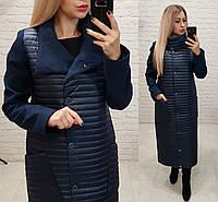 Куртка - пальто, арт 138, цвет темно синий, фото 1