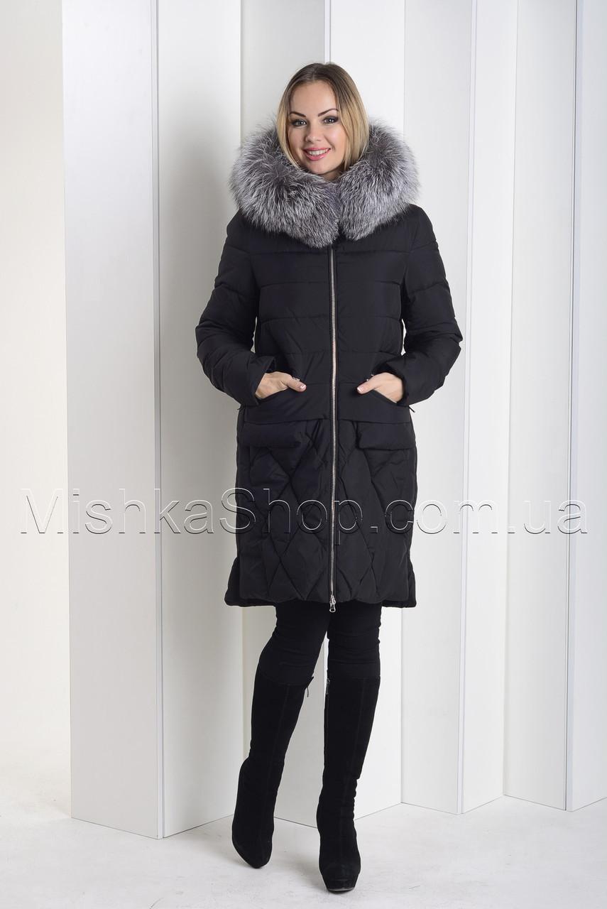 Стильный пуховик с натуральным мехом чернобурки чёрного цвета Towmy 2066