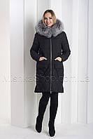 Стильный пуховик с натуральным мехом чернобурки чёрного цвета Towmy 2066, фото 1