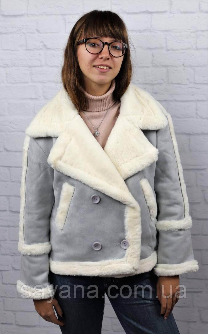 Женская куртка-дубленка в расцветках. БР-19-1018