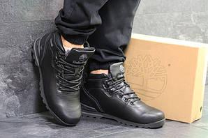 Ботинки тимберленд мужские зимние черные кожаные меховые (реплика) Timberland Black Leather Winter