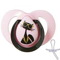 Ортодонтическая пустышка для девочек Мода (кот), 6-18 мес., Tommee Tippee