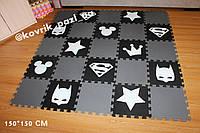 Игровой коврик пазл в детскую 150*150 см (25 шт, черный, белый, серый)