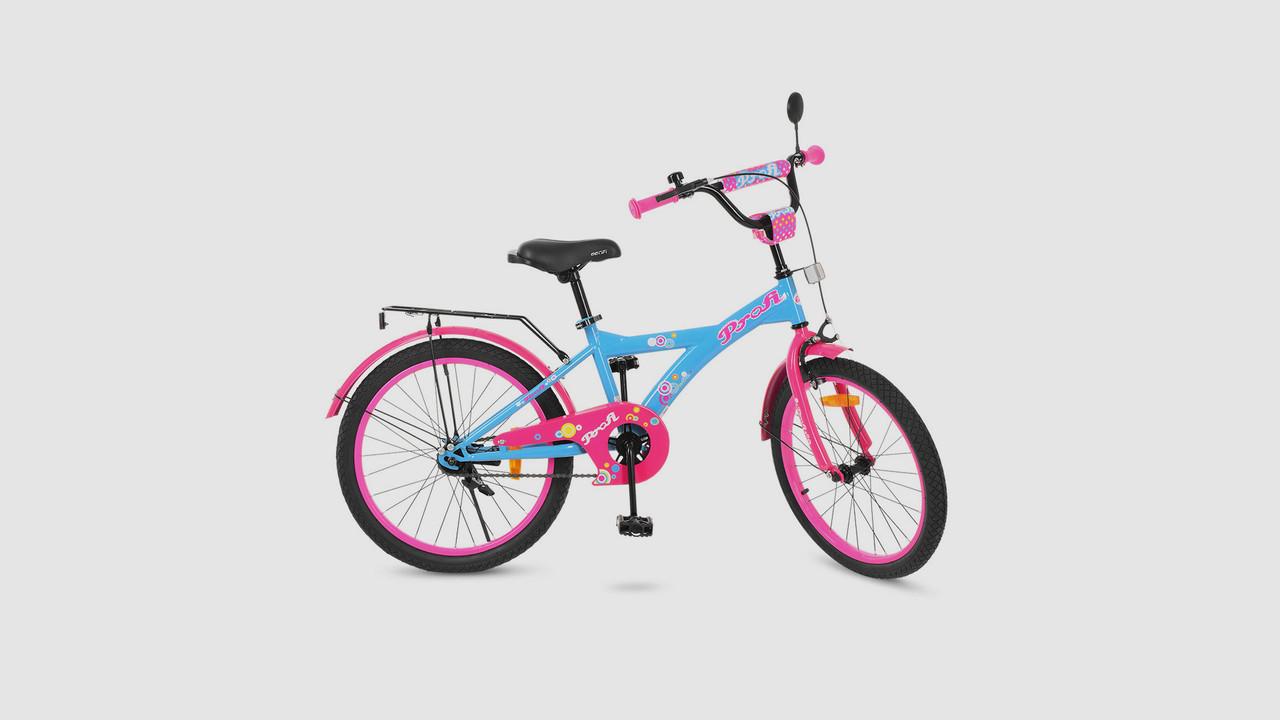 Велосипед детский PROFI ORIGINAL GIRL. 20 дюймовые колеса. Голубого цвета