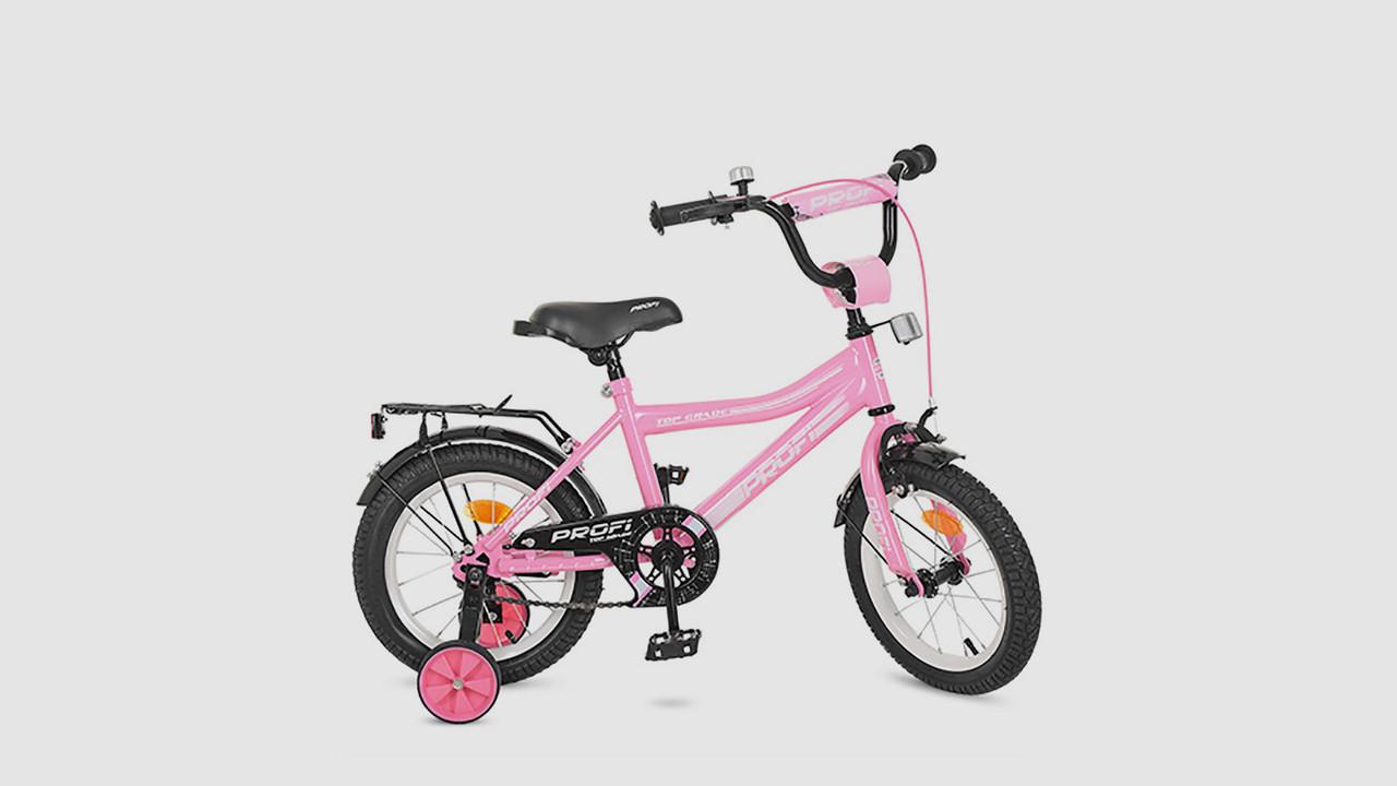 Велосипед детский PROFI TOP GRADE. 16 дюймовые колеса. Розового цвета