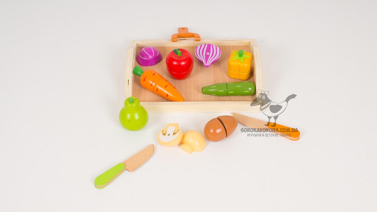 Деревянные продукты на липучке. 2 вида. 11 предметов