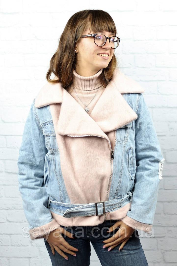 Женская комбинированная куртка в расцветках. БР-21-1018
