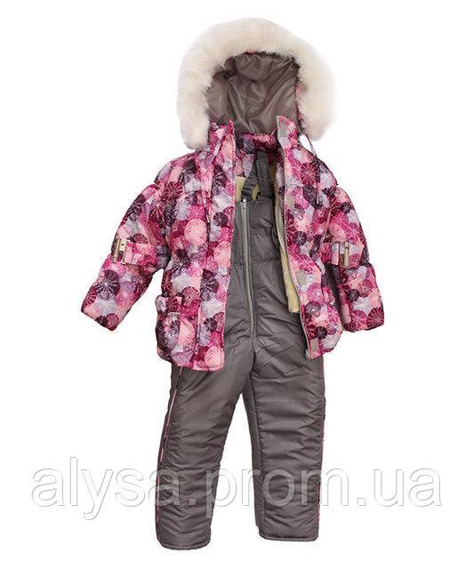 """Дитячий зимовий костюм для дівчаток """"Сніжинка"""", куртка+напівкомбінезон"""