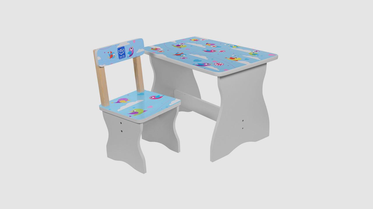 Столик и стульчик BAMBI. Принт птички.