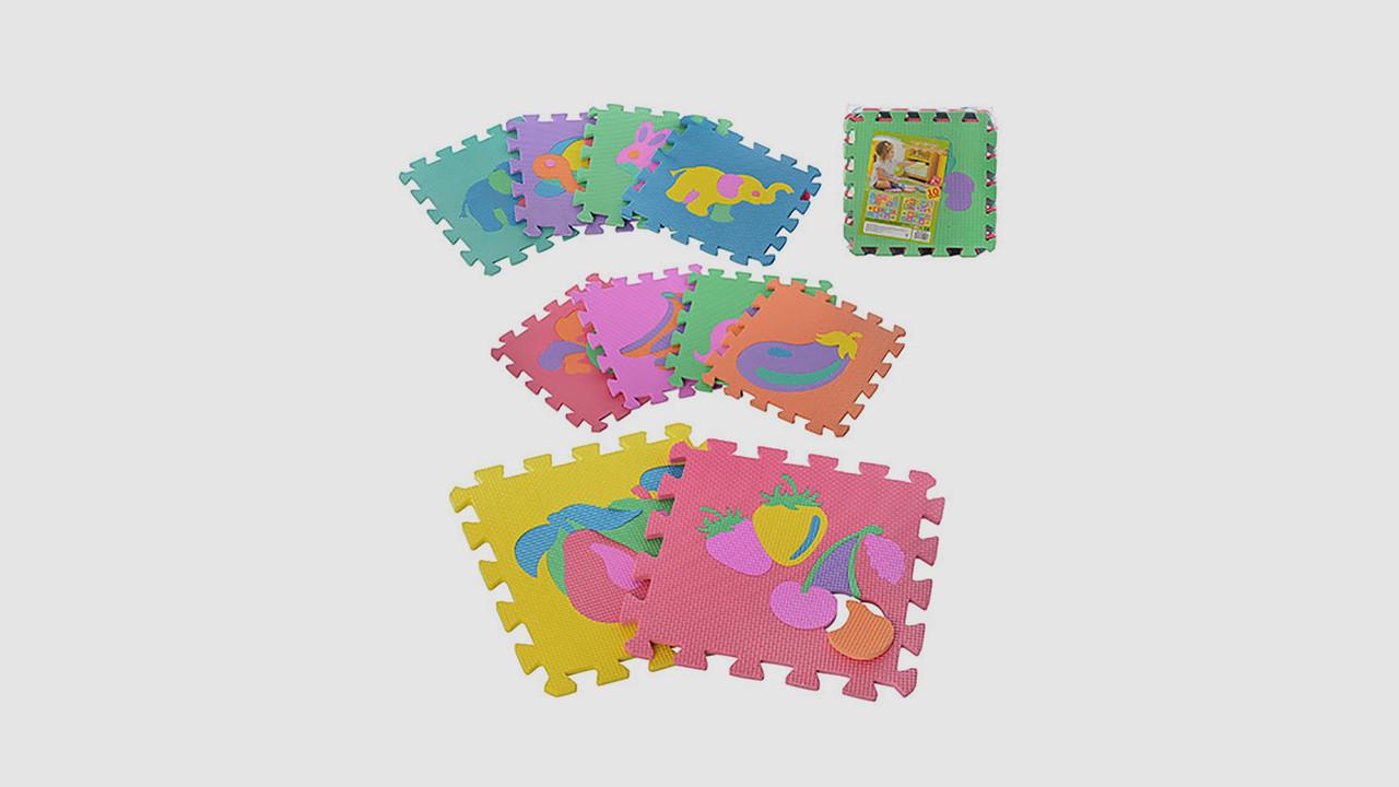 Детский коврик мозаика. Собирается пазл из 10 деталей рисунок фрукты и животные.