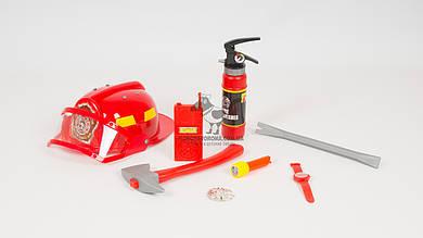 Набор пожарника. В комплекте - каска: огнетушитель: топор: лом: компас
