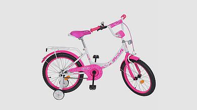 Велосипед детский PROF1 Princess Y1814 18 дюймовые колеса. Бело-малиновый.