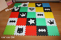 Игровой коврик пазл в детскую 150*150 см (25 шт, черный, белый, мятный, красный, желтый, салатовый, голубой)