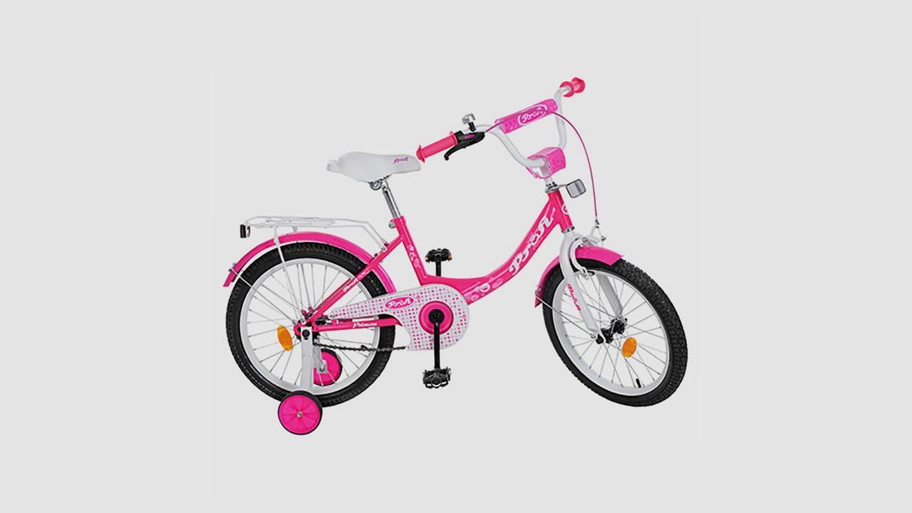 Велосипед детский PROF1 Princess Y1813 18 дюймовые колеса. Малиновый.