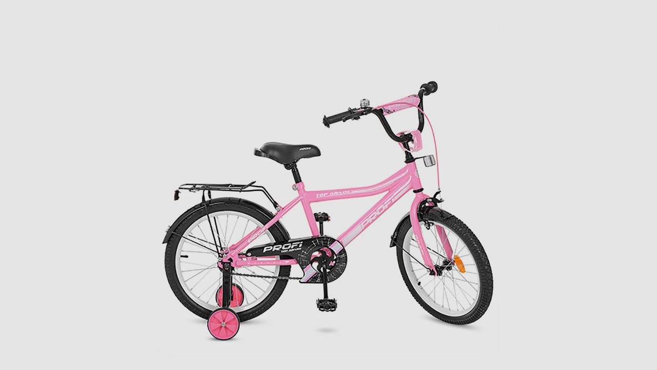 Велосипед детский PROFI TOP GRADE. 18 дюймовые колеса. Розового цвета