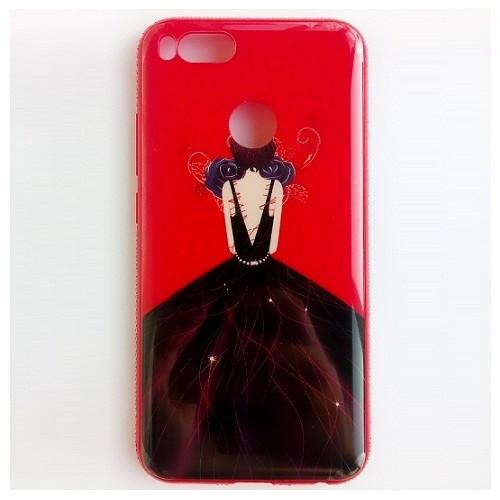 Чехол-накладка TPU Magic Girl со стразами для Xiaomi Mi A1 / Mi 5X (Красный / Синяя роза)