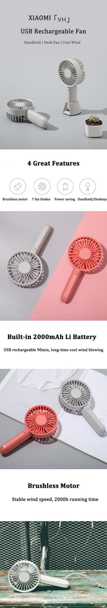 Оригинальный Xiaomi Mijia VH вентилятор портативный ручной с перезаряжаемым встроенным аккумулятором