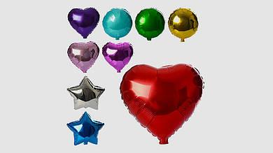 Шарики надувные фольгированные. 3 вида (шар: сердце:звезда). Микс цветов