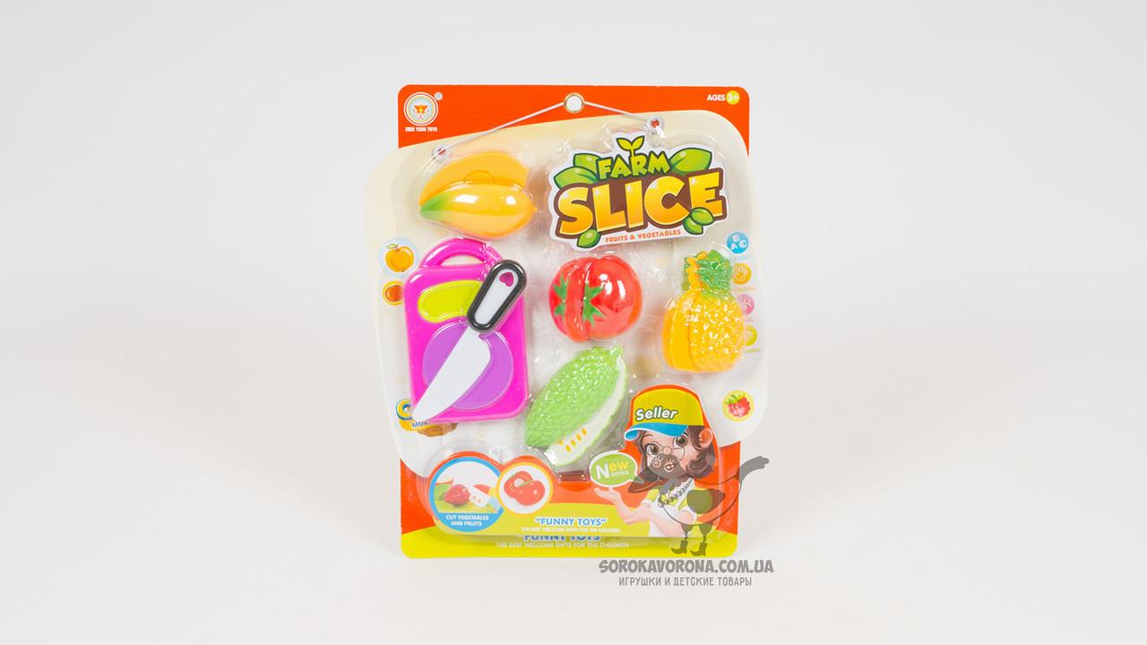 Продукты на липучке - 4 штуки. В комплекте - нож и досточка. 2 вида (фрукты или овощи)