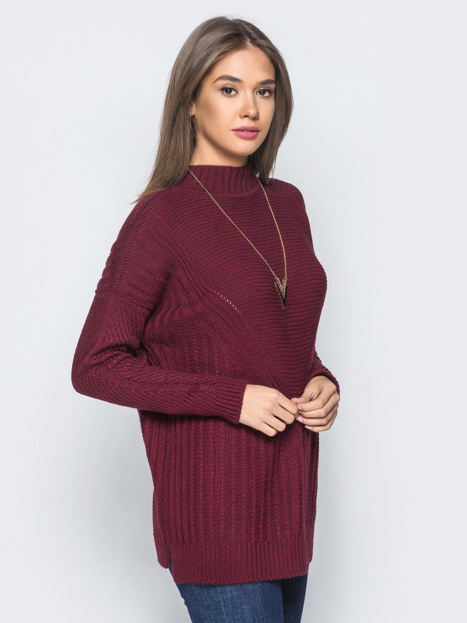 бордовый свободный женский вязаный свитер р44 50 продажа цена в