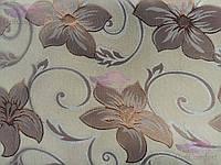 Скатерть с вышивкой и цветочками 150х220, люрексовая нитка., фото 1