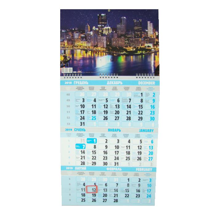 Календарь настенный квартальный на 2019 г. Ночной мегаполис