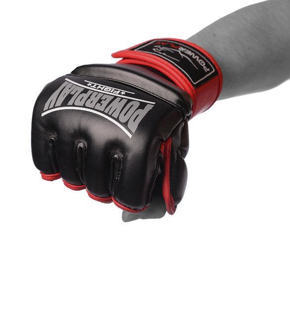 Перчатки для MMA PowerPlay 3058 Черно-красные PU