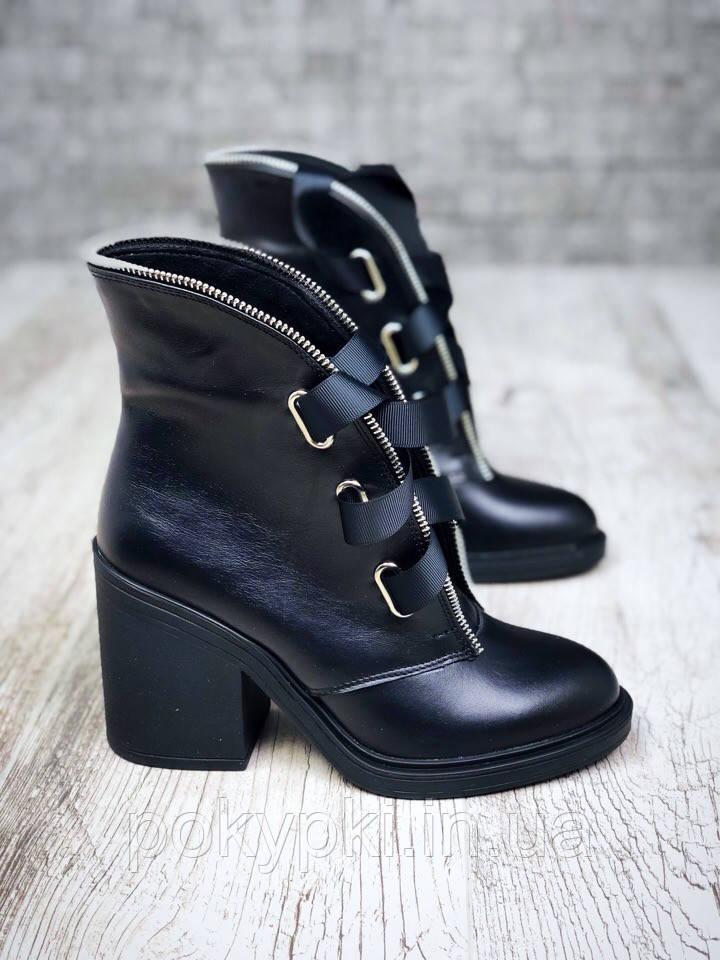 0fb8accea Модные зимние ботинки ботильоны женские кожаные на меху шнуровка лентами широкий  каблук черные