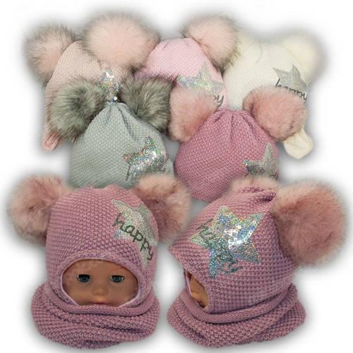 Детский комплект - шапка и шарф хомут для девочки, 46-48