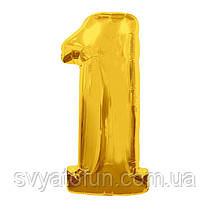 Фольгированный шар-цифра 1 золото 70см Китай