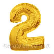 Фольгированный шар-цифра 2 золото 70см Китай