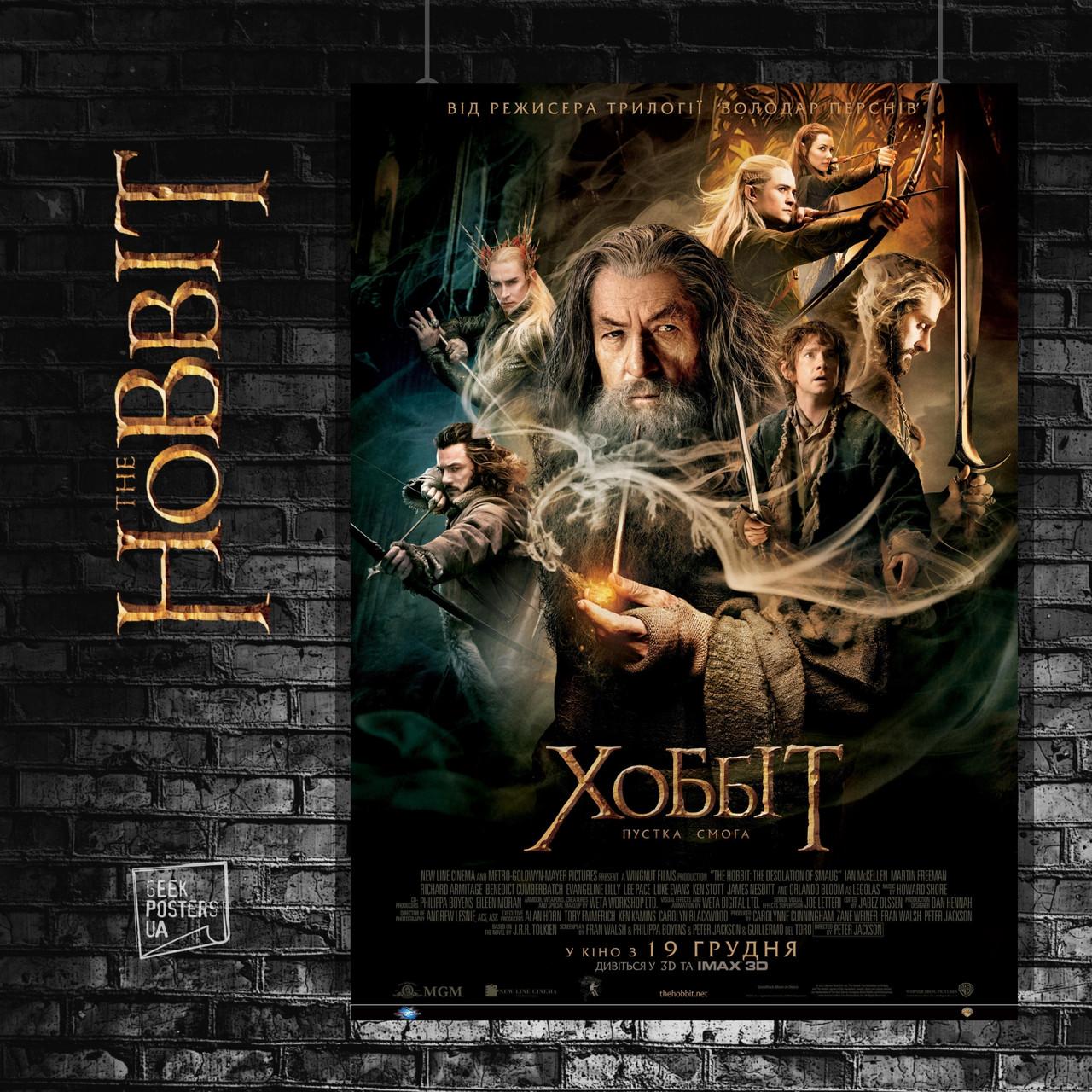 Постер Хоббит: Пустошь Смауга (2013), Властелин Колец. Размер 60x42см (A2). Глянцевая бумага