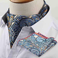 Аскот Bow Tie House коричневый с голубым в цветах с платком 10116