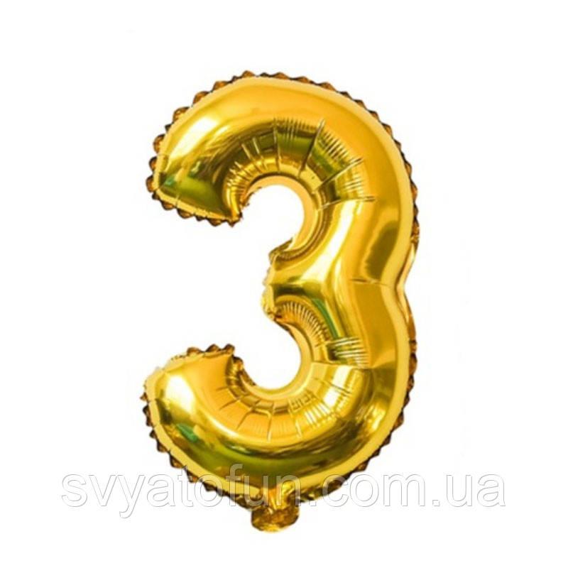 Фольгированный шар-цифра 3 золото 35 см Китай
