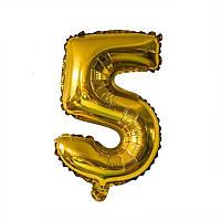 Фольгированный шар-цифра 5 золото 35 см Китай