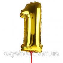 Фольгированный шар-цифра 1 на палочке золото Китай