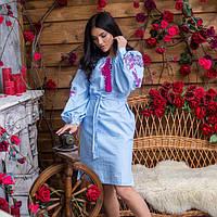 Платье модное голубого цвета с вышивкой Жар Птица