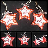 "Деревянная елочная игрушка ""Двойная звезда"", 11х11 см, 40/30 (цена за 1 шт. + 10 гр.), фото 1"