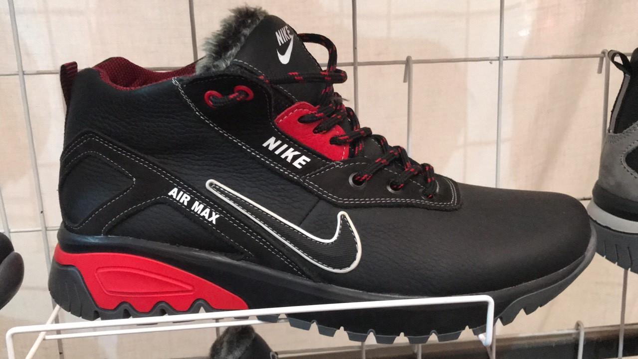 Кожаные мужские зимние красные ботинки кроссовки Nike Найк