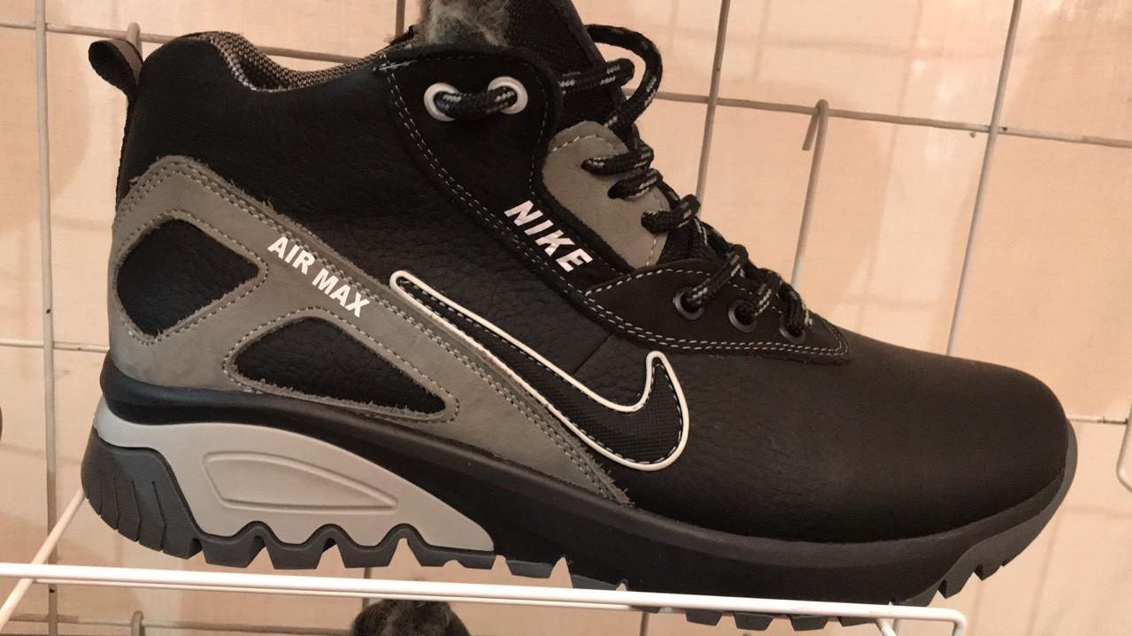 Кожаные мужские зимние черные ботинки кроссовки Найк