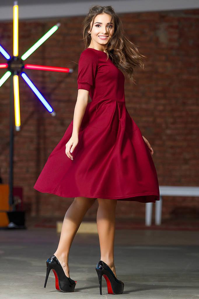 Платье миди с расклешенной юбкой  / 4 цвета арт 7304-597