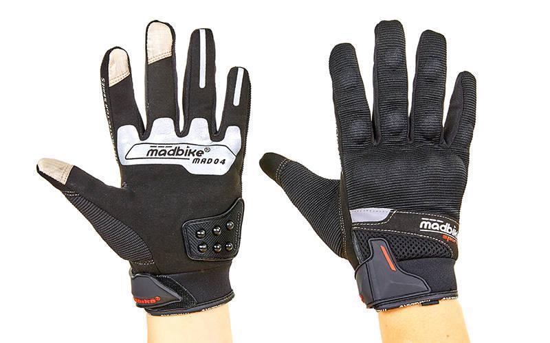 Мотоперчатки текстильные с закрытыми пальцами MADBIKE (р-р L-XXL, черный)