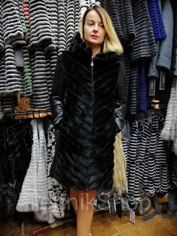 Норковое зимнее пальто с кожаными рукавами и капюшоном, шуба 2в1, шубка, норочка - TehnikShop в Днепре