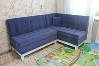 Кухонный мягкий уголок на деревянных ножках (Светло-синий), фото 1
