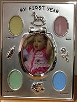 Детская фоторамка poldom ck-607 5xo-s silver