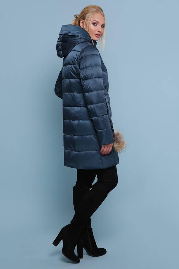 Зимняя куртка пуховик c капюшоном бирюза, фото 2