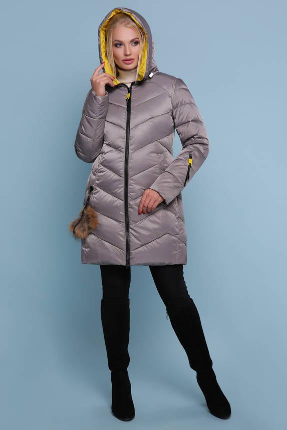 Зимняя куртка пуховик c капюшоном серая, фото 2