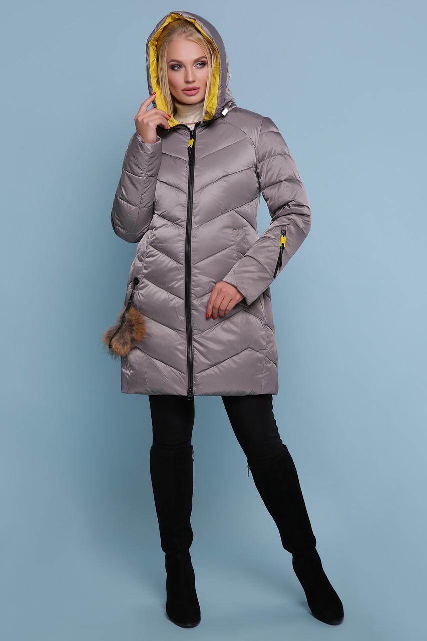 Зимняя куртка пуховик c капюшоном серая
